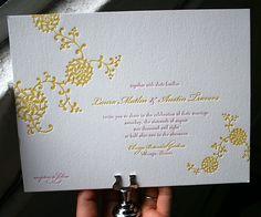 Convite de casamento em letterpress