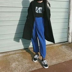 blue high waisted trousers pinstripe