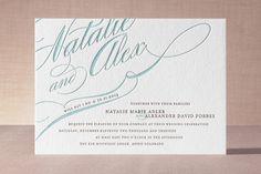 """Winter Flourish"" - Elegant, Formal Letterpress Wedding Invitations in Stone by annie clark."