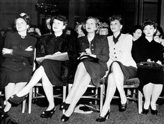 """Actresses Helen Hayes, Ruth Chatterton, Gertrude Lawrence, Mary Martin and Myrna Loy, from left, are seen at a meeting of the New York Women's Division of the National War Fund Committee, at the Waldorf-Astoria in New York, on November 8, 1943 ~"