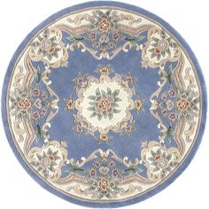 The Conestoga Trading Co. Hand-Tufted Light Blue Oriental Runner Area Rug Rug Size: Round 6'