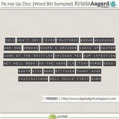 Quality DigiScrap Freebies: Fix Me Up Doc word art freebie from Kristin Aagard Designs