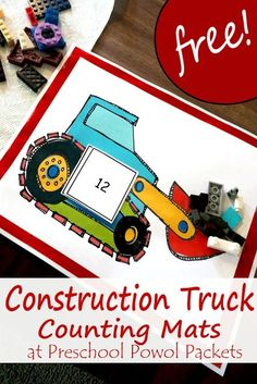 Free Construction Truck Counting Packet & Math Activities | Preschool Powol Packets