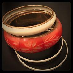 Bangle bracelets 4 piece bangle set. Ivory and coral Jewelry Bracelets