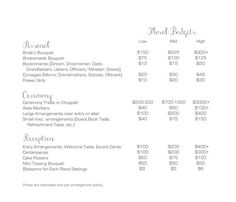 flower pricing for a wedding