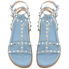 Valentino Brand New Submerge Rockstud Blue Sandals ($799) ❤ liked on Polyvore featuring shoes, sandals, leather sandals, short heel shoes, leather shoes, small heel shoes and low heel shoes
