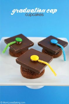 Graduation Cap Cupcakes are actually little brownies turned upside down. Then topped with a chocolate bar and candy. Yum!