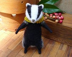 Handmade needle felted badger with hand knit scarf. This lovely unique little badger is the perfect gift for someone :) Needle Felted Animals, Felt Animals, Needle Felting, Cute Animals, Fuzzy Felt, Wool Felt, Knitted Dolls, Felt Dolls, Fibre And Fabric