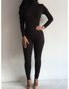 Black Sexy Bodycon Jumpsuits Long Sleeve High Neck Rompers Bodysuit