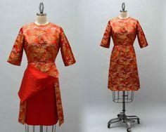 50er Jahre chinesisches Brokat-Kleid Vintage von Day17Vintage
