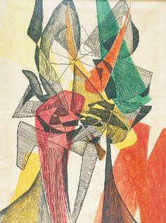 Maria Jarema — Heads (monotype, tempera, paper on canvas, Socialist Realism, Venice Biennale, Organic Form, Tempera, Abstract Shapes, National Museum, Modern Art, Mario, Mosaic