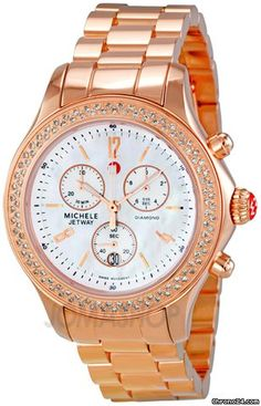 Michele Jetway Diamond Rose Gold-plated Chronograph Ladies Watch MWW17A000012 $1,445 Rose gold-plated stainless steel case and bracelet
