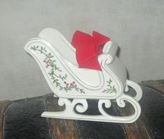 Christmas Sleigh porcelain with holly berries and gold trim made by FTD  | eBay