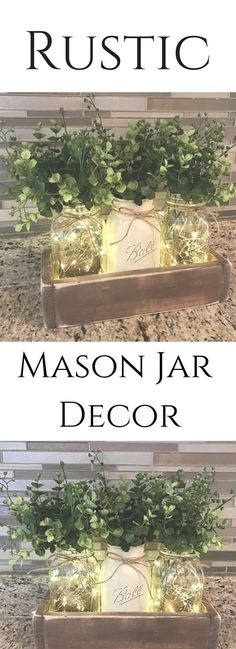 Farmhouse Decor.Farmhouse Table Decor.Mason Jar Centerpiece.Centerpiece.Mason Jar Lights.Mason Jar Decor.Wedding Decor.Greenery.Mason Jars #farmhouse #rusticfarmhouse #greenery #masonjar #affiliate #etsy