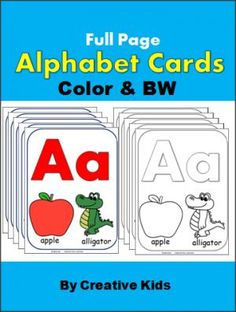 Alphabet Cards (Color and BW).  These are full page alphabet cards.  The black and white are a fun activity for kids while learning the letter names and sounds.