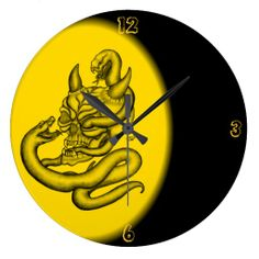 Skull - Devil Head with Snake - Wall Clocks - NEW by Krisi ArtKSZP on Zazzle
