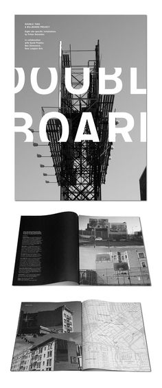 Double take: A billboard Project  - building projects with blk/wht map on opposite page