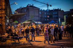 "#Photo of people enjoying themselves at the #event ""#Night of Pragi"" (#Noc Pragi) among buildings of #Warsaw #Vodka Distillery #Koneser (Warszawska Wytwórnia Wódek Koneser). #New Buildings Among #Old :) #City #Warszawa #Poland #Polska"