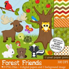 Use for a Onesie-decorating station ...   Forest Friends - Digital paper and clip art set. $6.00, via Etsy.