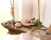 2 Tiered Shelf All Natural Driftwood Zero Hardware // 2 levels Shelves // Earthy Rustic Beach Ocean Decor Wall Hanging // Tan Brown Wood