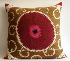 Sukan / Vintage Hand Embroidered Suzani Pillow Cover  by sukan, $119.95