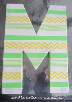 15 DIY Washi Tape Wedding Ideas | Confetti Daydreams - DIY Washi Tape Monogram Wall Art DIY tutoria