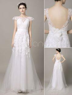 Casamento sem costas vestido fita flor Sash laço Applique Cap mangas tribunal trem tule vestido de noiva