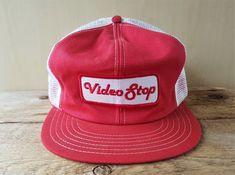 30bece6c242 Vintage 80s VIDEO STOP Mesh Trucker Hat Snapback Victory Canada VHS Games  Rental