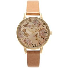 Olivia Burton OB15PL20 Women's Parlour Leather Strap Watch, Camel (€100) ❤ liked on Polyvore featuring jewelry, watches, accessories, water resistant watches, buckle watches, buckle jewelry, olivia burton watches e floral watches