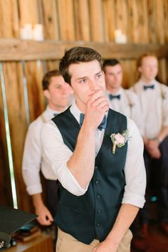 groom watching his bride walk down the aisle, photo by When He Found Her http://ruffledblog.com/brooklands-farm-wedding #wedding #grooms