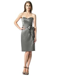 Dessy Women's Cocktail Length StraplessDress w/ Draped Bodice and Matching Sash