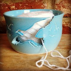 Small yarn bowl with 'Seagull' cut out design.  Email earthwoolfire@ymail for details.