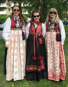 "My mom and I in our traditional dresses from Slidre in Valdres, called bringedukdrakt .This Valdres bunad is reconstructed based on clothing in the upper parts of Valdres in the first half of the 1800's, that is why it has the fashionable, (and very comfortable) high waistline.( RayBans are of course also the proper time-correct eyewear) My daughter is wearing her ""festdrakt"" which is a bunad-inspired dress that we designed on our own, and it has no connection to a specific part of Norway. My Mom, To My Daughter, Folk Costume, Costumes, My Heritage, Traditional Dresses, Norway, Scandinavian, Ray Bans"