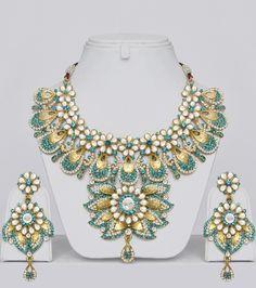 Designer Kundan Jewellery Set With Stones