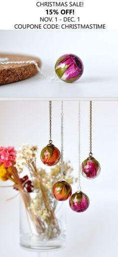 Dark Pink Rose Necklace - Real Rosebud Resin Sphere Pendant Necklace, Pressed Flower Resin Jewelry