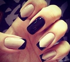 Black and neutral nail design