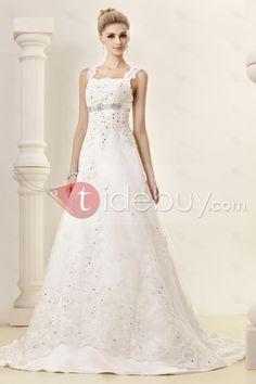 Fashion Straps Square Neckline Chapel Train Embroidering Dasha's Wedding Dress