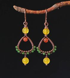 Mix colors earrings Copper wire earrings with green yellow