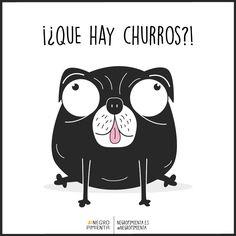 ¡Buenos días! ¿Sabes esa sensación de felicidad cuando te levantas y hay churros? Pues eso. #negropimienta #buenosdias #desayuno #diseño #ilustracion #perro #minimalismo #minimalism #illustration #negro #churros #breakfast #pug #dog #mascota #felicidad