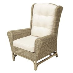 The Saint Raphaël Ecru Wing Chair Is A Wicker Garden Chair Fitted With An  Ecru Seat Cushion And Padded Back Cushion.