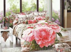 素敵なピンク大きめフラワープリント4点コットン寝具セット