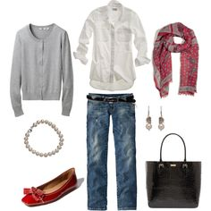 Red and Gray, created by #bluehydrangea on #polyvore. #fashion #style #Uniqlo #Madewell