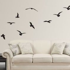 Breathtaking Artistic Flying Birds Silhouette Design Wall Decal With High Quality White Bacgroung Painting : Creative And Great Effects From Applying Merely Simple Wall Painting Pic Ideas To Your Interior Space Layouts And Schemes
