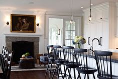 """""""I wanted to decorate the space keeping to the style of this 18th-century colonial Connecticut house,"""" Annie Kelly says. """"However, I used a few modern elem"""