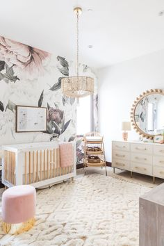 Danielle K. White Nursery RevealBECKI OWENS baby , Danielle K. White Nursery RevealBECKI OWENS Danielle White, founder of DKW Styling, is expecting a baby girl any day now and we had a chance to work w. Baby Room Design, Nursery Design, Baby Room Decor, Nursery Room, Kids Bedroom, Baby Girl Nursery Wallpaper, Nursery Mirror, Mirror Room, Girl Room Wallpaper