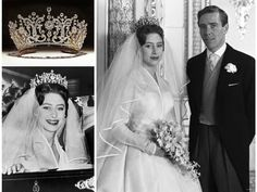 Royal wedding day style- Princess Margaret wore a silk organza dress and dazzling tiara Royal Wedding Gowns, Wedding Dresses Photos, Royal Weddings, Wedding Bride, Wedding Day, Princesa Margaret, Princesa Beatrice, Helen Rose, Princess Margaret Wedding