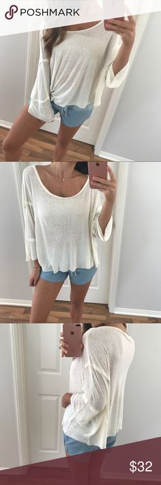 🆕Ivory Off-The-Shoulder Top Cozy, chic basic! Looks great dressed up or down. Features more of a dolman relaxed wide fit, dropped quarter sleeves that are made of strategically stitched pieces for an extra detailed appeal. 95% solid; loose 3/4 style sleeves. Purchased from the lovely Allie. Pics are hers. Brand new, never worn. Tags removed.  •ALL of my proceeds go to my son who is sick.• Tops