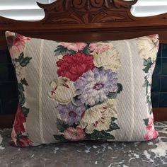 1930-40s BARKCLOTH Floral Pillow Designer by VintageStoryLinens
