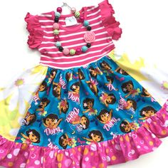 Dora the Explorer Pink Momi boutique girls by momiboutique on Etsy