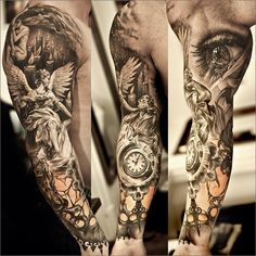 Full sleeve angel tattoo by the Swedish ink master, Niki Norberg. #tattoo #tattoos #ink